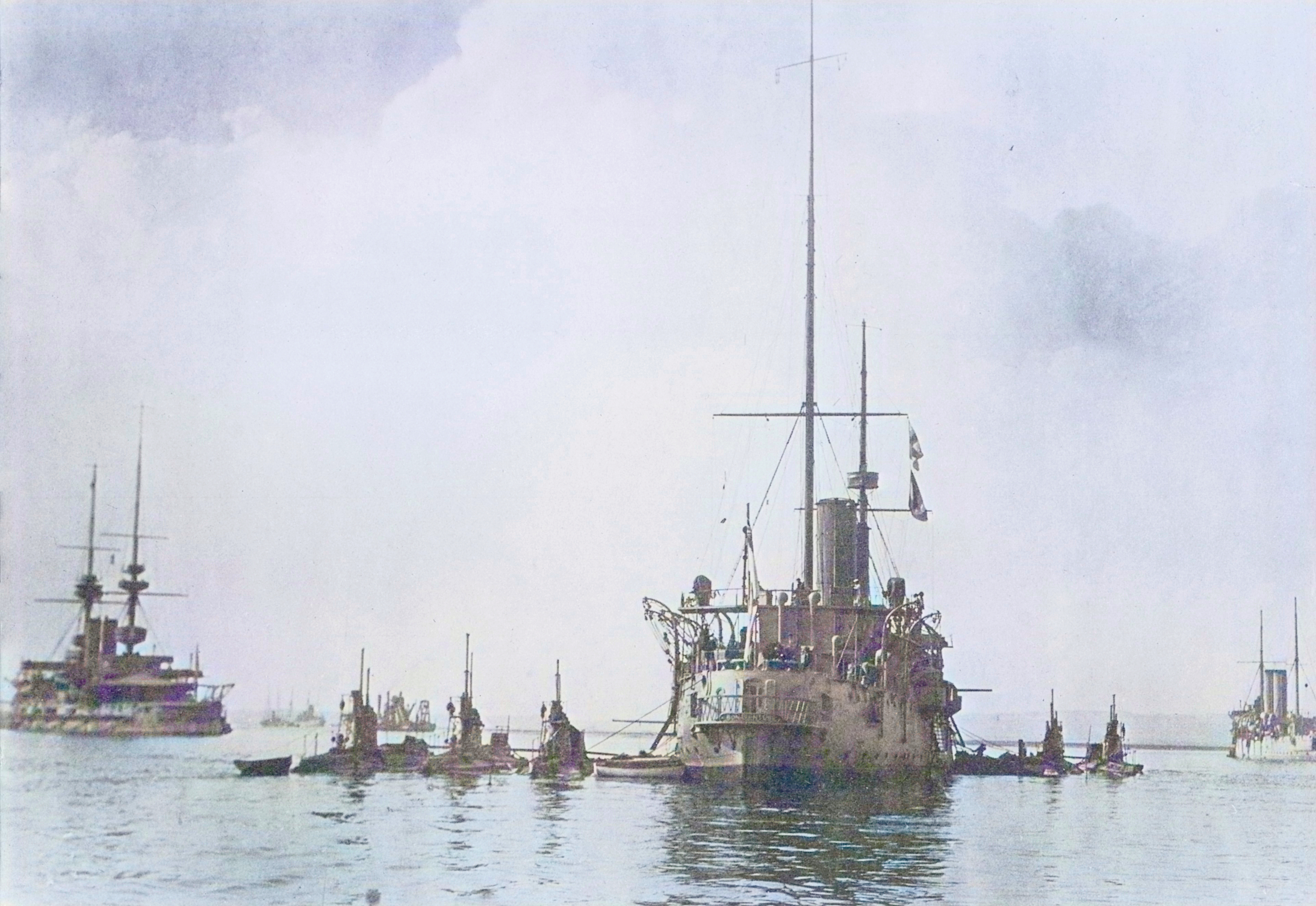 Bonaventure as a Depot Ship with submarines alongside